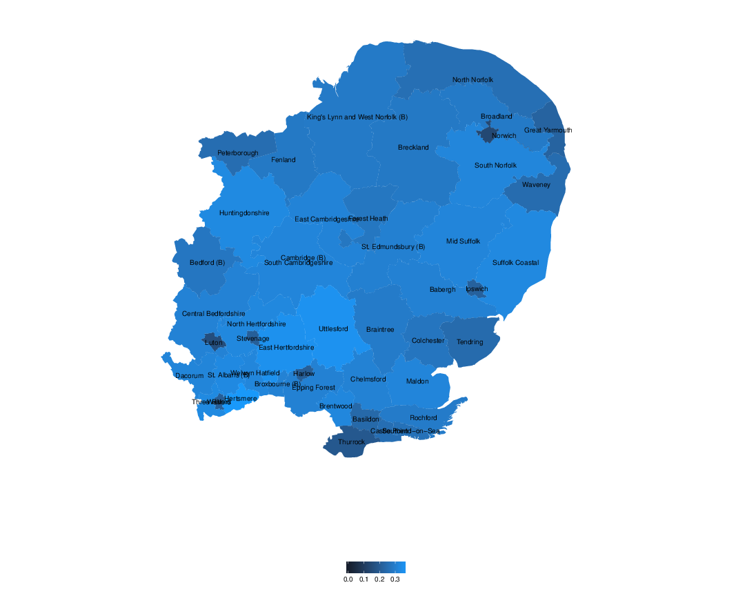 Support for the Conservative Party in the European elections, 2014, Eastern region.