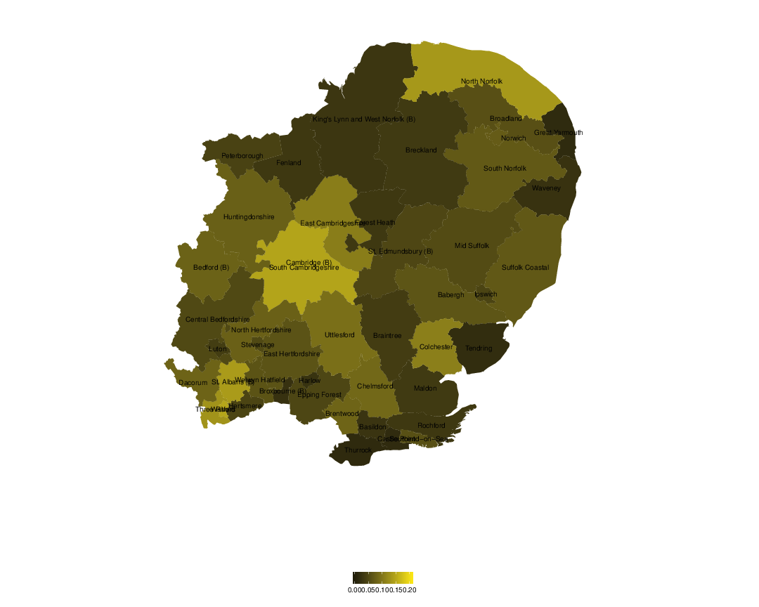 Support for the Liberal Democrats Party in the European elections, 2014, Eastern region.