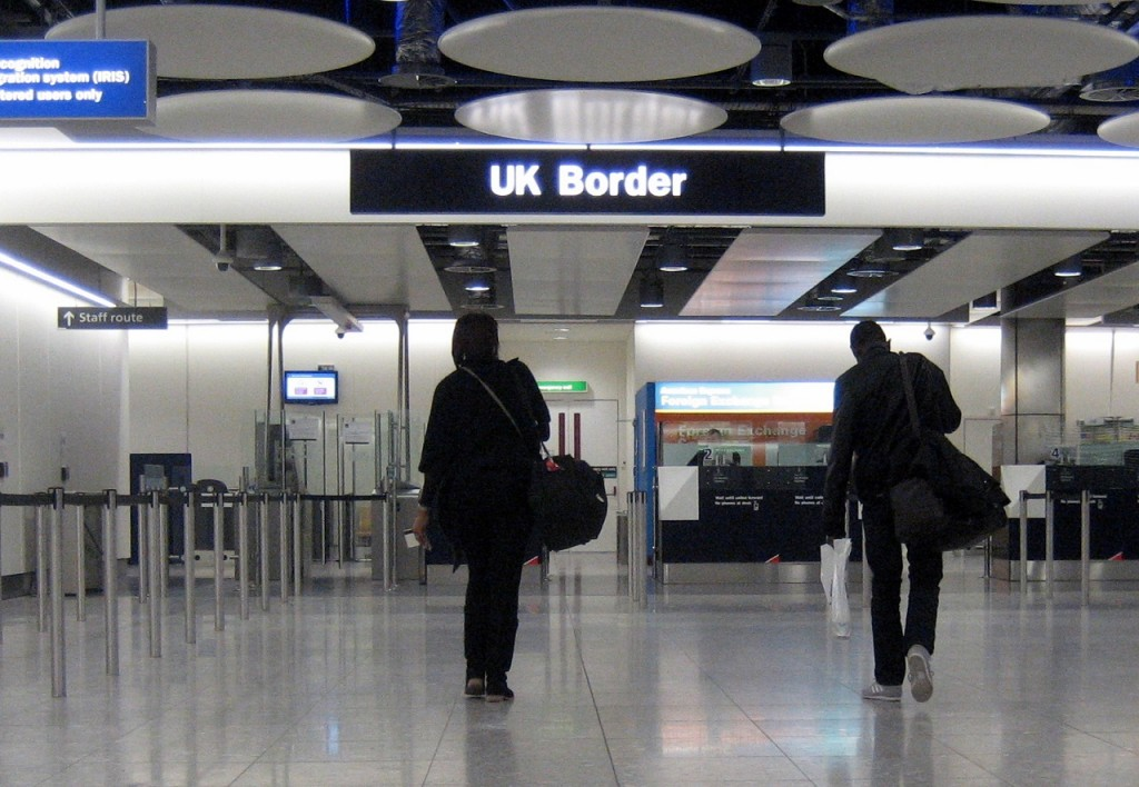 Immigration into the UK at Heathrow Airport.