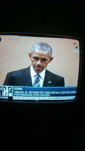 Obama's speech at the Teatro being broadcast on TV in Cuba. Obama: 'The destiny of Cuba is not going to be decided by any other nation'.