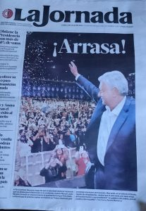 Front of newspaper on 2 July 2018, with headline 'Landslide Victory!'. (Photo: Hazel Marsh)